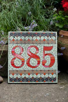 Mosaic house number by janotoole on Etsy