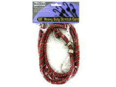 "Heavy duty stretch cord - Pack of 48 by Bulk Buys. $53.63. Height: 11. Width: 11. Length: 11. Dimensions:. Great Gift Idea.. Stretch cords are ideal for heavy duty tasks and offers unlimited uses around the home or yard. Cords have vinyl coated hook ends. Comes in a assorted colors. Each cord is packaged in a PVC bag with header card. They measure 48"" long at rest. Dimensions:. Length: 11. Height: 11. Width: 11"