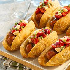 Caprese Salad Topped Smoked Sausage Sandwich
