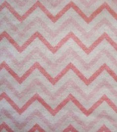 Snuggle Flannel Fabric Chevron Pink Small