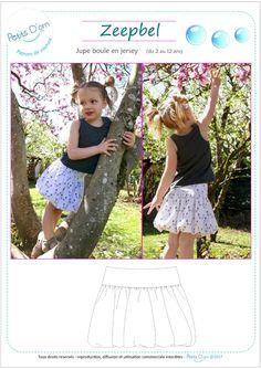 ZEEPBEL, jupe boule en jersey pour filles du 2 au 12 ans. Patron de couture au format PDF. Patron de couture, patron jupe, patron jupe boule