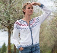 Mammahjerte jakke til dame   Sparkjøp Strikkeblogg Lace Knitting, Pullover, Fashion Outfits, Crochet, Blog, Inspiration, Knits, Instagram, Crafty