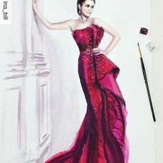 #Repost @ina_bill with @repostapp ・・・ I am very impressed by this embroidered fuchsia dress! 🌺 Made with love by a creative designer @zuhairmuradofficial  #zuhairmurad #fashiondesigner #zuhairmuradcouture #hautecouture #gown #couture #fashionart #longdress #embroidery #lace #silk #fuchsia #illustration #sketching #draw #portrait #portraiture #natyabascal #artwork #watercolor #watercolorpainting #ink #fashionillustration #fashionsketch #fashiondrawing #drawadot #fashionblogger_de #inabill…