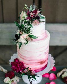 The Prettiest Ombré Wedding Cakes for Couples Who Love Color | Martha Stewart Weddings - Sweet Lola used varying shades of red—including blush, magenta, and crimson—to create this blended ombré look. #ombre #weddinginspiration #weddingcake #cakeinspiration