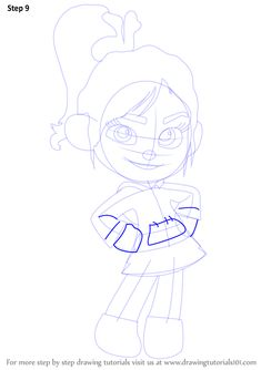 Learn How to Draw Vanellope von Schweetz from Wreck-It Ralph (Wreck-It Ralph) Step by Step : Drawing Tutorials Disney Character Drawings, Disney Drawings, Cartoon Movies, Cartoon Characters, Disney Drawing Challenge, Vanellope Von Schweetz, Wreck It Ralph, Step By Step Drawing, Drawing Tutorials