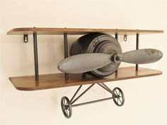 Unusual Shelf Retro Industrial Style Vintage Aeroplane Plane Propellor FREE POST in Home, Furniture & DIY, Furniture, Bookcases, Shelving & Storage Industrial Wall Shelves, Metal Shelves, Industrial Style, Floating Shelves, Industrial Boys Rooms, Industrial Nursery, Display Shelves, Shelving, Airplane Decor
