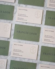 Marbury designed these business cards for Frances Loom, founded by Kelly Vittengl – a New York born, London based interior designer – who scours flea markets across the globe in search of extraordinary antique rugs. Brand Identity Design, Corporate Design, Branding Design, Letterhead Design, Business Card Maker, Unique Business Cards, Creative Business, Business Card Design Inspiration, Interior Design Business