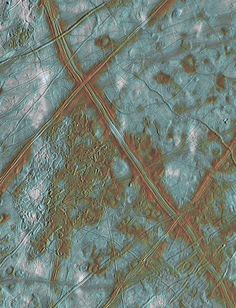 """Europa """"Ice Rafts"""" in local and color context (NASA Galileo Jupiter Mission Images) Cosmos, Jupiter's Moon Europa, Jupiter Moons, Color Unit, Arizona, Lines Wallpaper, Alien Planet, Alien Worlds, Space Shuttle"""