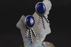 Lapis Lazuli Stud Earrings-Sterling Silver Lapis