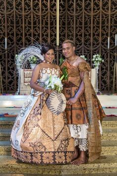 Lovely Fijian couple wearing tapacloth on their wedding day Wedding Attire, Wedding Gowns, Wedding Outfits, Bridal Gown, Polynesian Wedding, Tongan Wedding, Samoan Wedding, Fiji People, Island Wedding Dresses