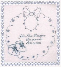 Embroidered Birth Announcement