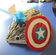 Hedgehogs. Made out of books. Dressed as the Avengers.