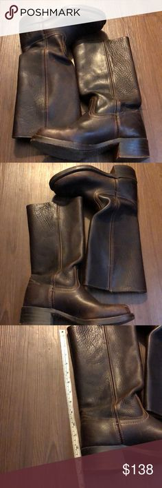"""Frye Dark Brown Campus Moto Boots Size 7 1/2M Preloved! In fair condition- some wear from use throughout- see pics. Heel height measures 1 3/4"""". Length from top of shaft to bottom of heel measures 14"""". Flat shaft circumference measures 7"""". Frye Shoes Heeled Boots"""