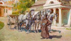 Stanisław Batowski-Kaczor: Przed dworkiem, 1913 r. olej, płótno; 47 × 79 cm sygn. i dat. l. d.: S.K.Batowski / 30 XII 1913.