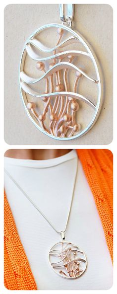 Large Round Pendant Necklace | Sterling Silver, Gold Plated | Contemporary Design
