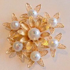 Vintage Faux Pearl Floral Bouquet Brooch by BorrowedTimes on Etsy