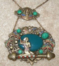Vintage Art Deco Egyptian Revival Pendant Necklace Neiger | eBay