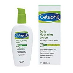 Cetaphil Daily Hydrating Lotion with Hyaluronic Acid, 3 Fluid Ounce: This lightweight, oil-free moisturizer with hyaluronic acid provides instant hydration to skin and locks in moisture to protect skin from dryness throughout the day. Hyaluronic Acid Moisturizer, Best Drugstore Face Moisturizer, Homemade Face Lotion, Neutrogena, Cleanser, The Help, Moisturizers