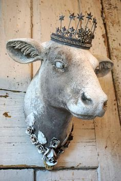 Check out Cow head wall mount faux painted white taupe gray rustic French farmhouse mounted heifer taxidermy hanging home decor anita spero design on anitasperodesign