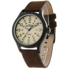 Timex Men's T49963 Expedition Scout Brown Leather Strap Watch | Overstock.com Shopping - The Best Deals on Timex Men's Watches
