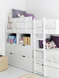 Bunk beds- bunks are offset which means you can minimize the height since when you're in the bottom bunk only your legs go under the top bunk. Bunk Beds For Boys Room, Kid Beds, Kura Bed, Girl Room, Girls Bedroom, Bedroom Decor, Sister Room, Simple Bed, Decoration