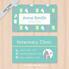 Tarjeta veterinaria con siluetas de animales Vector Gratis