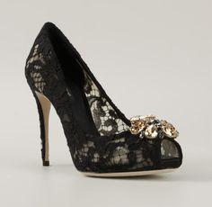 DOLCE & GABBANA Lace Embellished Pumps | Buy ➜ http://shoespost.com/dolce-gabbana-lace-embellished-pumps/