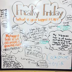FREAKY FRIDAY: What is your biggest fear?! #yesiamscaredofoldpeople #dontjudge #freakyfriday #fearfriday #miss5thswhiteboard #5thgradeinfloridaswhiteboard #iteachfifth #iteach5th Friday Messages, Morning Messages, Journal Topics, Journal Prompts, Morning Board, Morning Activities, Daily Writing Prompts, Bell Work, Responsive Classroom