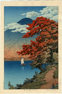 "Japanese Art Print ""Lake Chuzenji at Nikko"" by Kawase Hasui, woodblock print reproduction, cultural Source by etsy Pintura Zen, Japanese Woodcut, Japon Illustration, Botanical Illustration, Art Asiatique, Art Japonais, Japanese Painting, Chinese Painting, Japan Art"