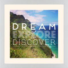 Dream Explore Discover Framed Print, White, Contemporary, Cream, Cream, Single piece, 16 x 16 inches, White