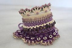 Beaded crochet cuff bracelet Handmade jewelry by YarnOverStories