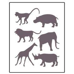 Safari Animals: Hippo, Giraffe, Elephant, Monkey Stencil
