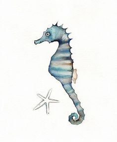Sand and Sea Seahorse with starfish  / Navy Blue by kellybermudez, $20.00  Love the colors!
