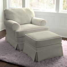Natural Linen Pink Classic Glider #carouseldesigns.  This is a great chair for a baby nursery!