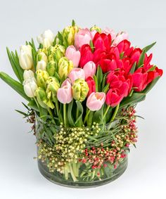 Ombre Tulips A lush, ombre style collection of white, green, pink and red tulips is designed with simple pepperberry accents in a glass cylinder vase. Home Flowers, Church Flowers, Spring Flowers, Beautiful Flowers, Tulips In Vase, Red Tulips, Beautiful Flower Arrangements, Floral Arrangements, Office Deco