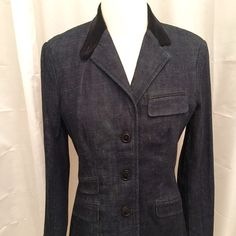 Ralph Lauren Fitted Jeans Blazer Fitted 3 button denim blazer. Featuring corduroy collar, cotton lining, 4 functional welt pockets with flaps (still closed); 2 piece sleeves with button details. Worn once Ralph Lauren Jackets & Coats Blazers