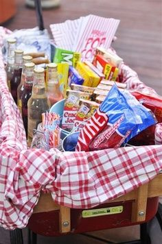 Use kitchen baskets lined with red linen for concessions at Drive In.