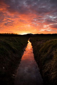 Hot sunset over the little river - A wonderful sunset over my lands