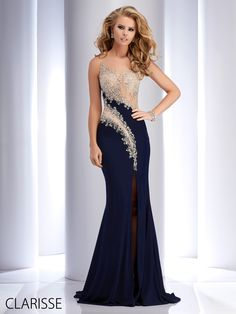 Clarisse 2016 couture prom dress style 4710 in Navy blue and champagne. Sexy, fitted unique cut out prom dress with sparkly silver details. http://clarisse.us/locator/index.php