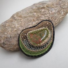 "Lenka Veselá, brooch ""Earth"" - hand made needle lace, unakite, rocail, imitation leather"