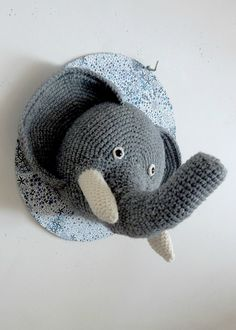 trophee elephant - crochet deco - Anisbee