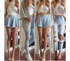 42 Awesome Light Ripped Jeans Outfit 99 Outfit with Light Blue Ripped Jeans 4 Teen Fashion Outfits, Mode Outfits, Girly Outfits, Cute Casual Outfits, Blue Fashion, Pretty Outfits, Fall Outfits, Dress Outfits, Summer Outfits