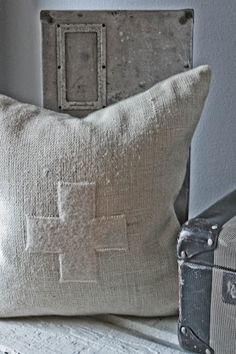 one of my vintage linen cross pillows . . .