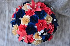 Navy Blue and Coral WoodenFlowers Bouquet  | AccentsandPetals - Wedding on ArtFire