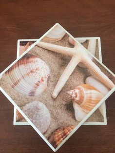 Beach tile coasters shell tile coasters ceramic by KCstylejewelry