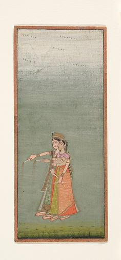 Two Court Ladies with Fireworks Date: ca. 1725 Culture: India (Rajasthan, Bikaner) Medium: Ink and opaque watercolor on paper Dimensions: 6 11/16 x 2 7/8 in. (17 x 7.3 cm) Classification: Paintings Credit Line: Gift of Mr. and Mrs. Uzi Zucker, 1977 Accession Number: 1977.444.4