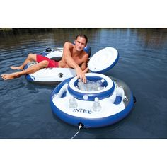 Intex Mega Chill Floating Beverage Cooler Drink Holder Pool Float NEW 2015 Model by Swimming Pool Inflatable Rafts - Cool Kitchen Gifts Floating Cooler, Inflatable Cooler, Inflatable Kayak, Glacier, Pool Toys, Water Toys, Cool Bars, Cool Pools, Online Shopping