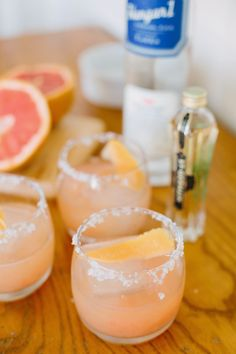 Salty Dog cocktails with grapefruit, vodka, St. Germain and salt.