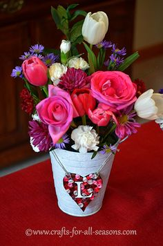 Beautiful floral centerpiece - just in time for your Valentine's Day party!