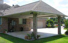 Carport style but with wooden beams.                                                                                                                                                     More